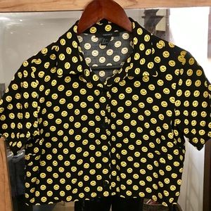 Smiley Face Collared Button Up Crop Top